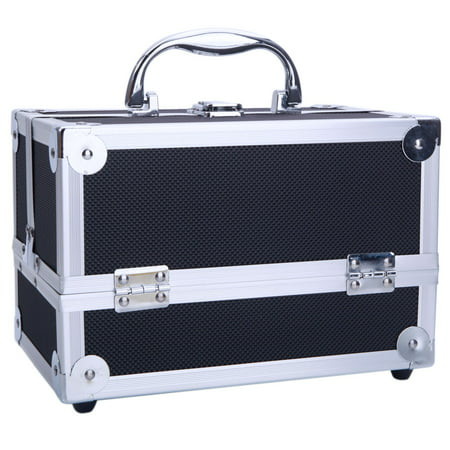 SM-2176 Aluminum Makeup Train Case Jewelry Box Cosmetic Organizer with Mirror 9