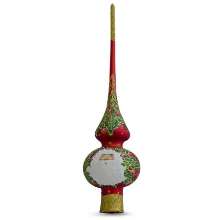 Santa Mistletoe and Wreath Red Glass Christmas Tree Topper 11 Inches
