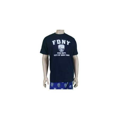 FDNY Short Sleeve White Fire Dept Logo and Shield T-Shirt Navy - Fire Department Tee Shirts