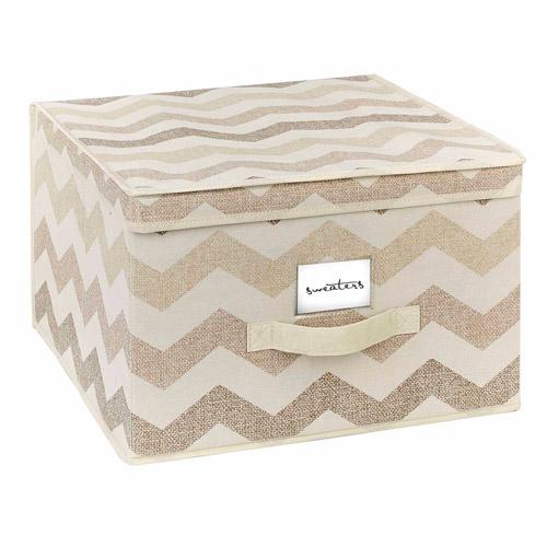 HouseCandie Jumbo Storage Box, Textured Chevron