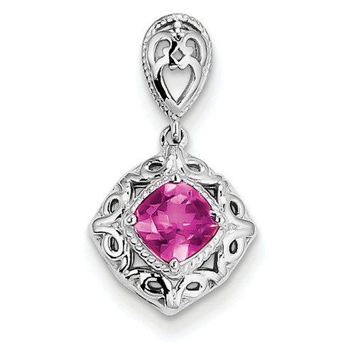 Sterling Silver Pink Tourmaline Square Pendant. Gem Wt- 0.39ct by Jewelrypot
