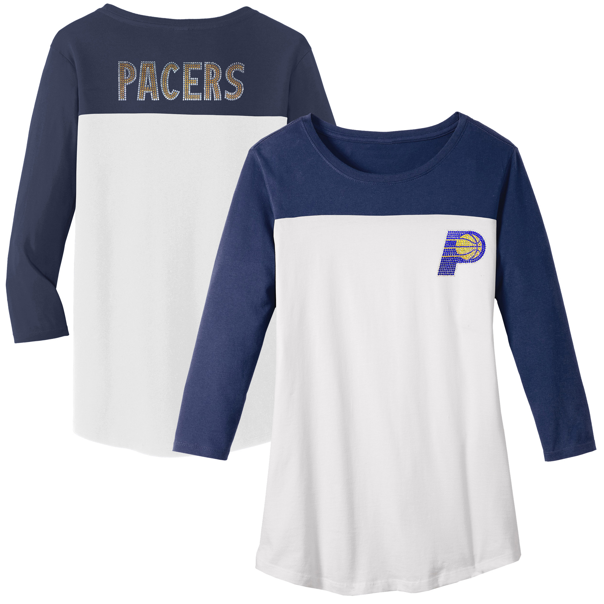 Indiana Pacers Women's Rally Rhinestone Color Blocked 3/4 Sleeve T-Shirt - White