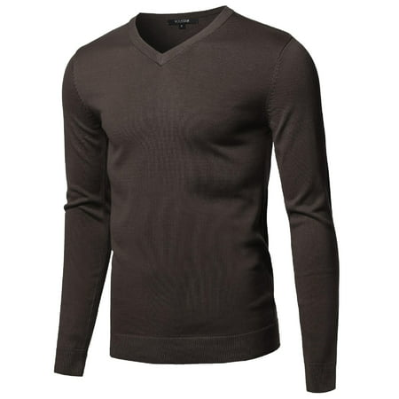 (FashionOutfit Men's Casual Solid Soft Knitted Long Sleeve V-Neck Sweater)