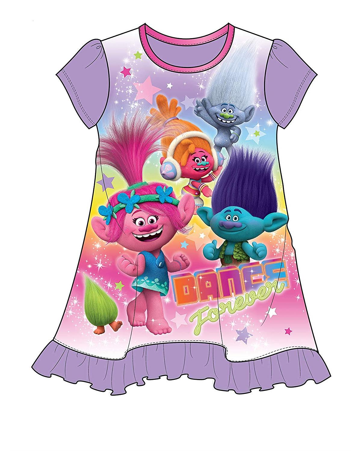Trolls Movie Dance Forever Purple Nightgown for Toddler Girls, Purple, Size: 3T