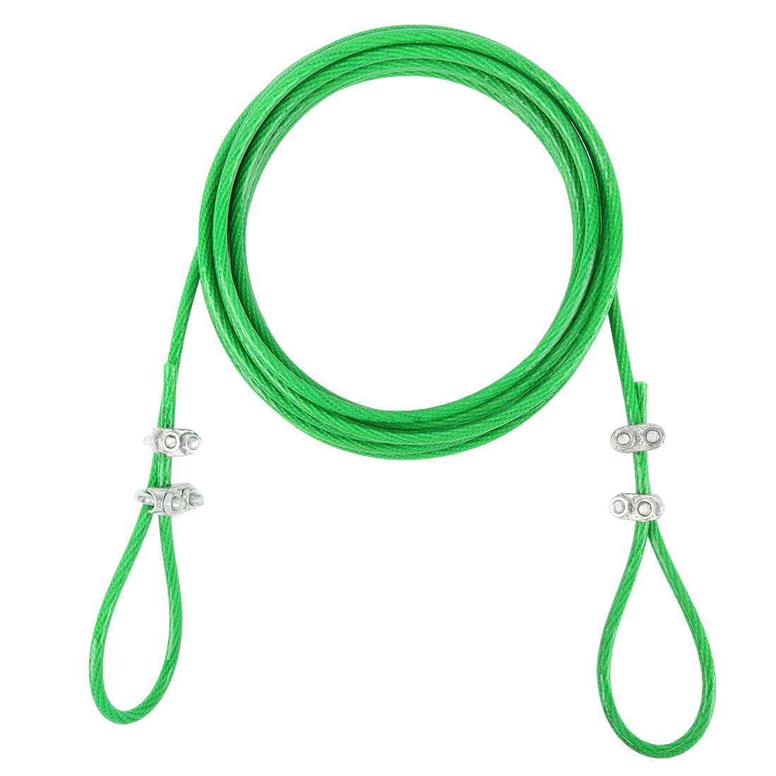 Steel Cored Clothesline Hold up Heavy Weight Nylon Wrapped Green 3 Meters Length