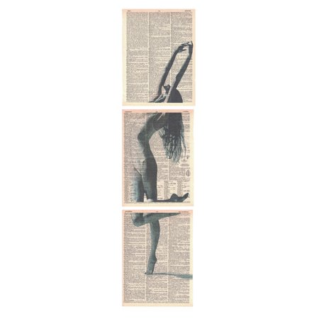 Art N Wordz Standing Tall Ballet Dancer Ballerina 3 Piece Triplicate Original Dictionary Sheet Pop Art Wall or Desk Art Poster Triptych Prints