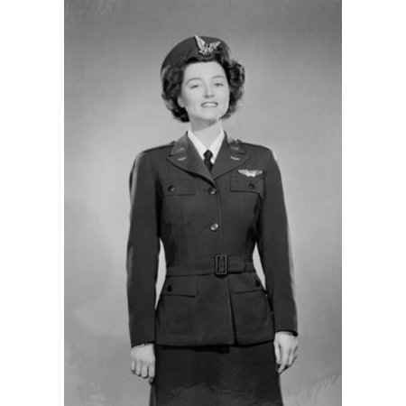 Young attractive young woman wearing air force uniform Poster Print
