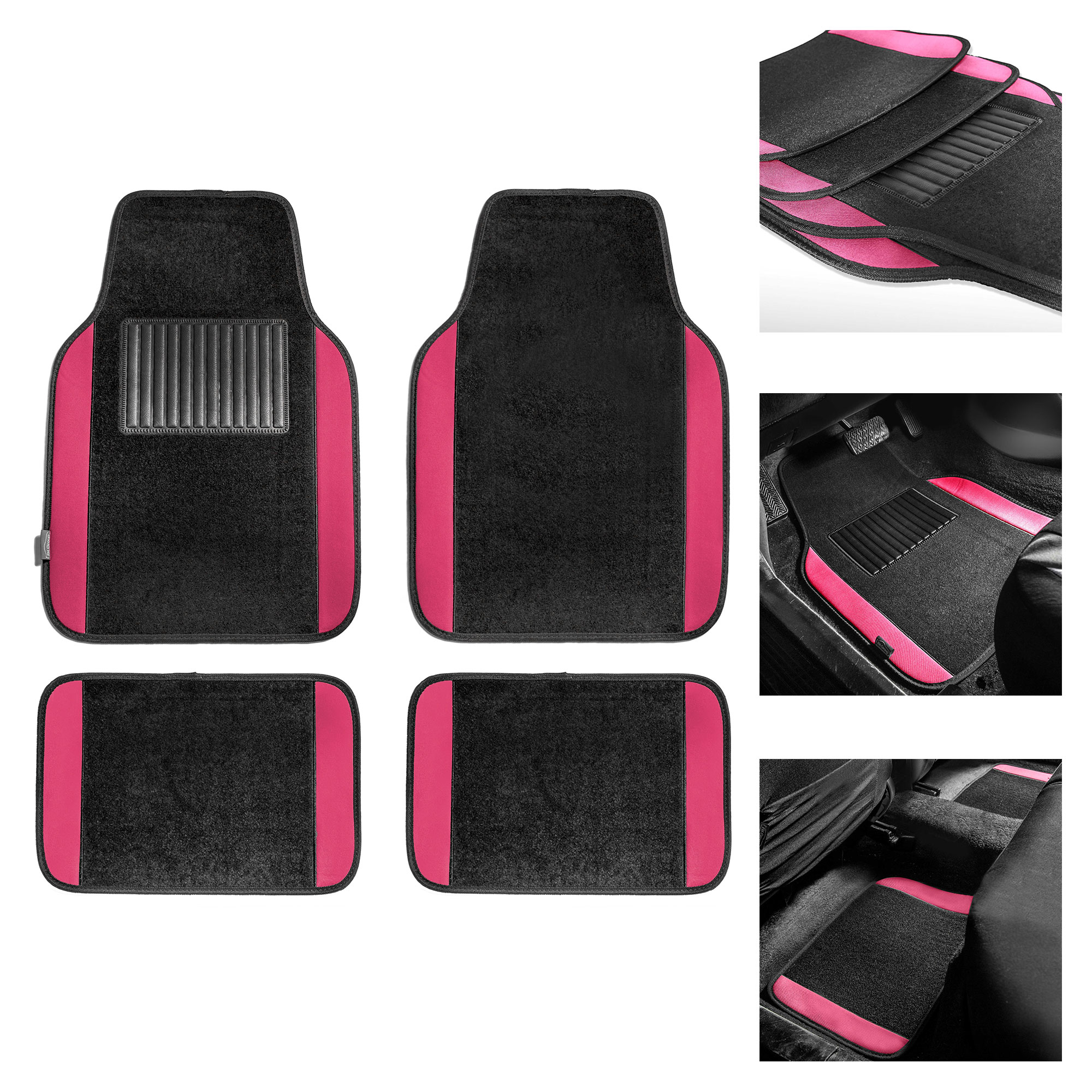 FH Group Premium Full Set Carpet Floor Mats Set For Auto w/ Free Gift, 10 Colors