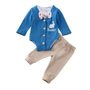 Musuos 3 Pcs Baby Pants Long Sleeve Romper+Short Sleeve Jumpsuit+Pants Sets