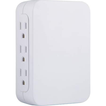 - GE Pro 6-Outlet Wall Adapter with Surge Protection, Side-Access Outlets, White, 10353