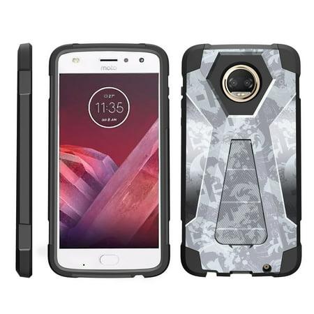 TurtleArmor ®   For Motorola Moto Z2 Force   Motorola Moto Z2 Play XT1710 [Dynamic Shell] Dual Layer Hybrid Silicone Hard Shell Kickstand Case - Light Blue (Advanced Dynamic Kicks)