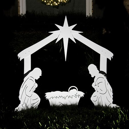 Teak Isle Outdoor Nativity Set | Weatherproof Holy Family Outdoor Nativity Scene for Yards and Lawns
