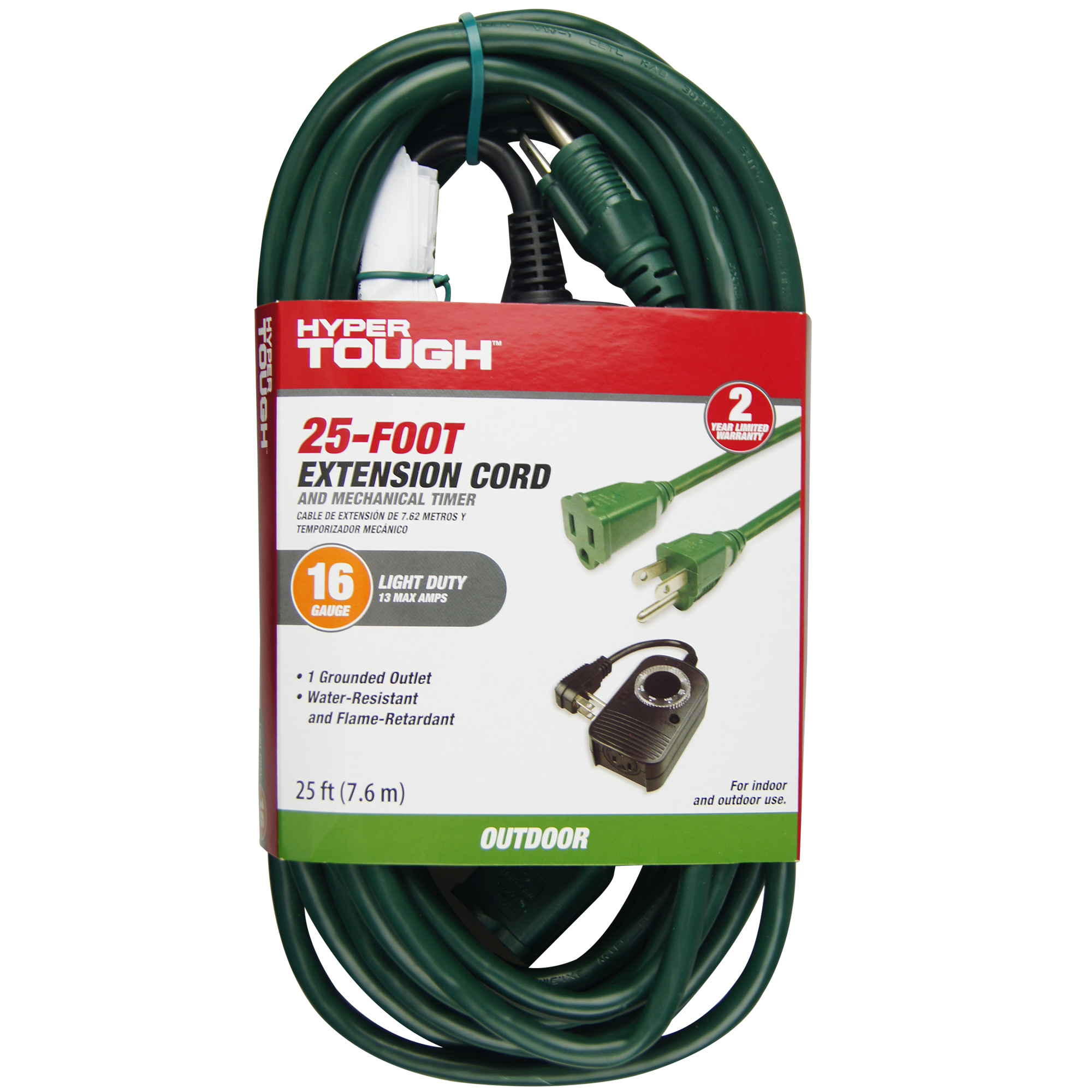 Hyper Tough 1-outlet 25ft Cord And Timer