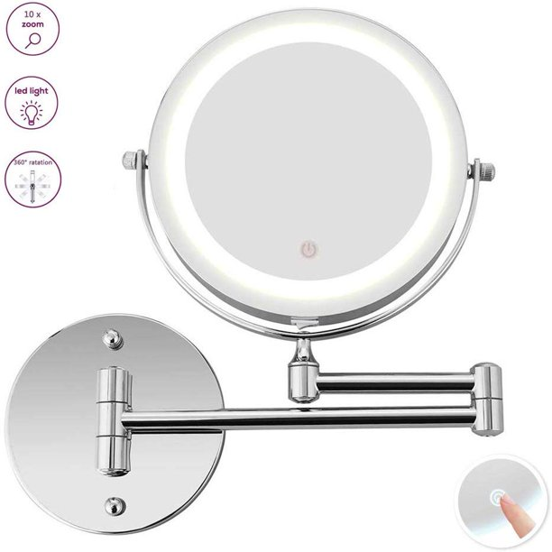 Led Lighted 10x Magnification Two Sided, Extendable Bathroom Mirror