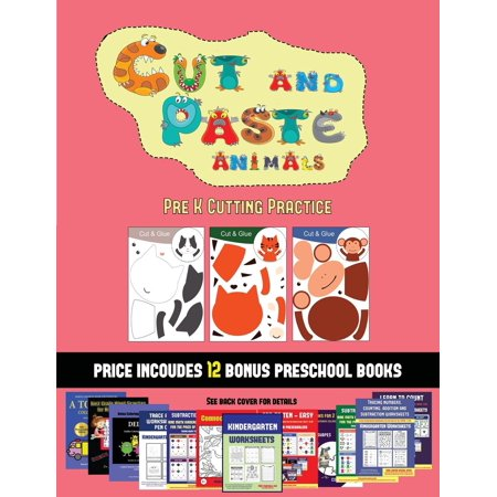 Pre K Cutting Practice (Cut and Paste Animals) : 20 full-color kindergarten cut and paste activity sheets designed to develop scissor skills in preschool children. The price of this book includes 12 printable PDF kindergarten workbooks