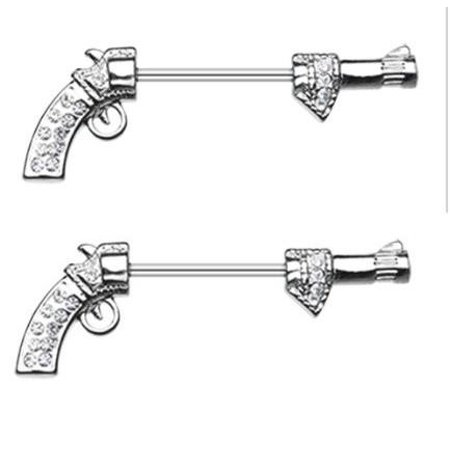 Nipple Shield Rings Bling Revolver Gun Nipple Barbell Barbell pair 14g 5/8