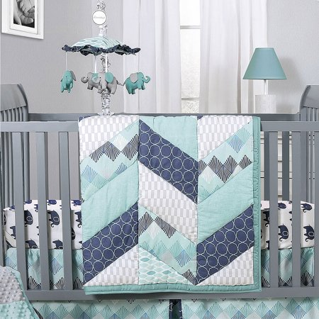 Mosaic Elephant and Geometric 5 Piece Baby Boy Crib Bedding Sets Baby Boy Sports Bedding