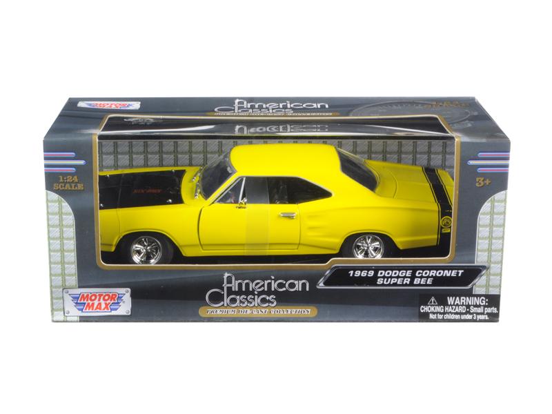 1969 Dodge Coronet Super Bee Yellow 1 24 Diecast Car Model by Motormax by Motormax