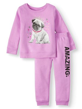 Garanimals Long Sleeve Graphic Sweatshirt & Graphic Sweatpants, 2pc Outfit Set (Toddler Girls)