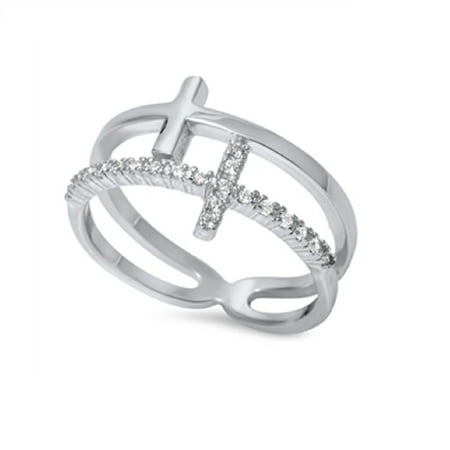 Two Sideway Crosses Style Cubic Zirconia Ring Sterling Silver 925