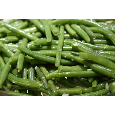 Canvas Print Fry Green Dinner Yummy Garlic Beans Green Beans Stretched Canvas 10 x -