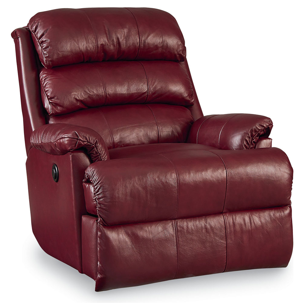 Revive Leather Rocker Recliner with Power Recline Burgundy (curbside delivery)