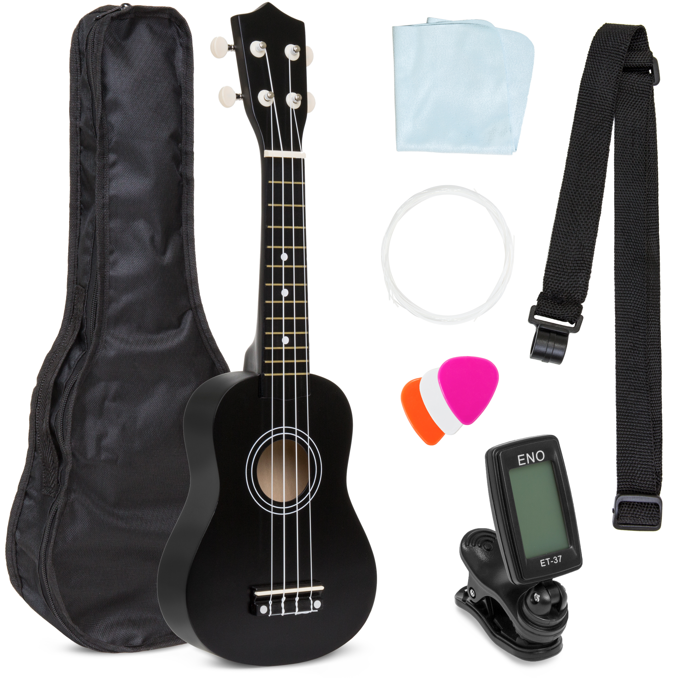 Best Choice Products Basswood Ukulele Starter Kit w/ Waterproof Case, Strap, Picks, Cloth, Clip-On Tuner, Extra String - Black