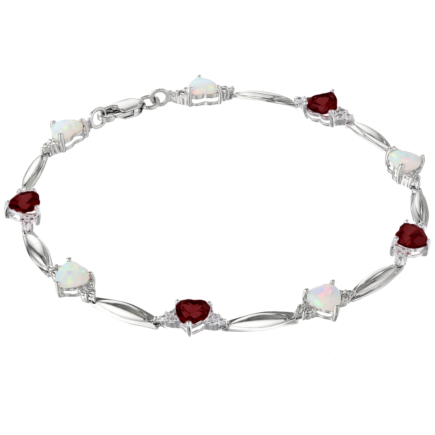 5MM Heart Opal and Garnet .01 cttw Diamond Sterling Silver Bracelet by Metro Jewelry