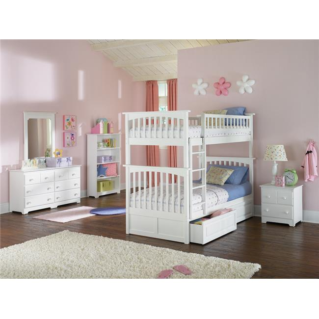 Columbia Bunkbed with Urban Bed Drawers - White, Twin Over Twin Size