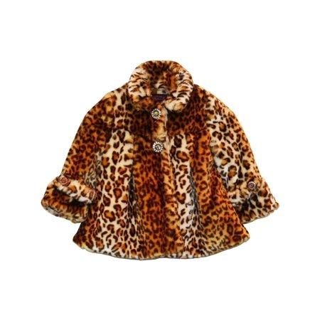 Little Girls Brown Leopard Faux Fur Coat 1T-2T - Girls Leopard Coat