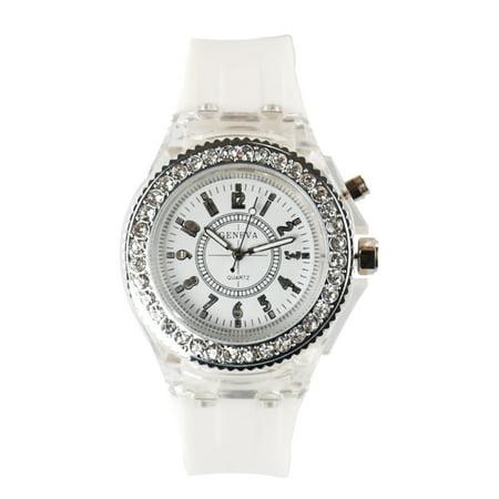 GENEVA Fashion LED Backlight Quartz Women Watch Water-Proof Girl Student Watch Rubber Strap Ladies Casual Wristwatch