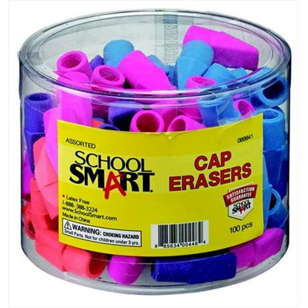 School Smart Pencil Cap Eraser, Chisel, Assorted Colors, Pack of 100 ()