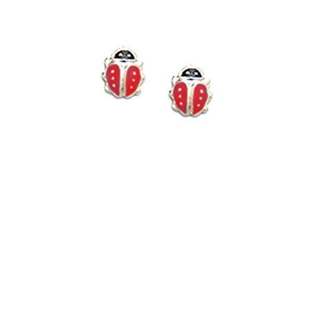 Childrens Enamel Ladybug - Adorable Childrens red ladybug enamel earrings in Sterling Silver