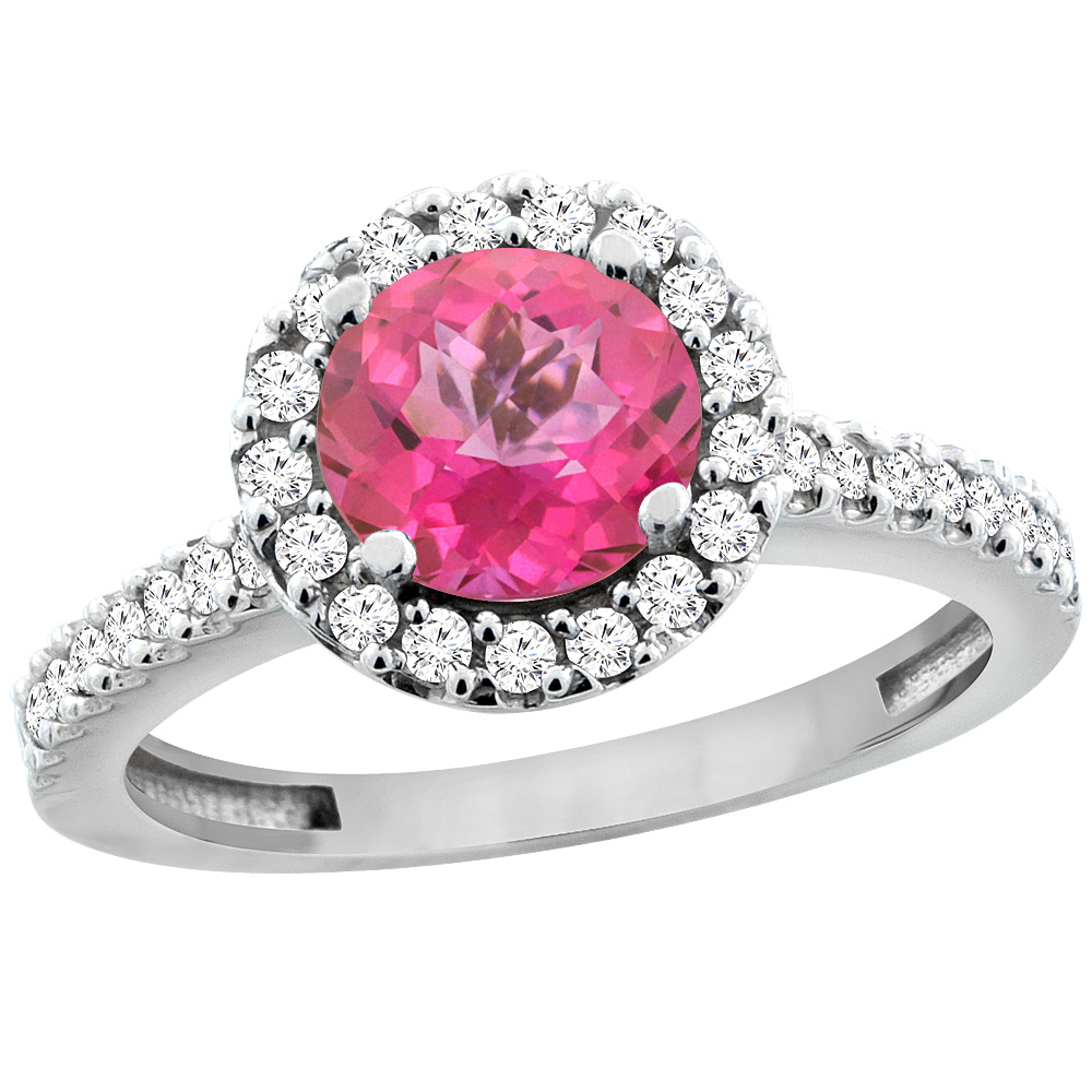 14K White Gold Natural Pink Topaz Ring Round 6mm Floating Halo ...