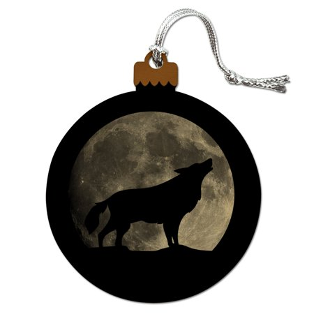 Wolf Howling Moon Silhouette Wood Christmas Tree Holiday Ornament