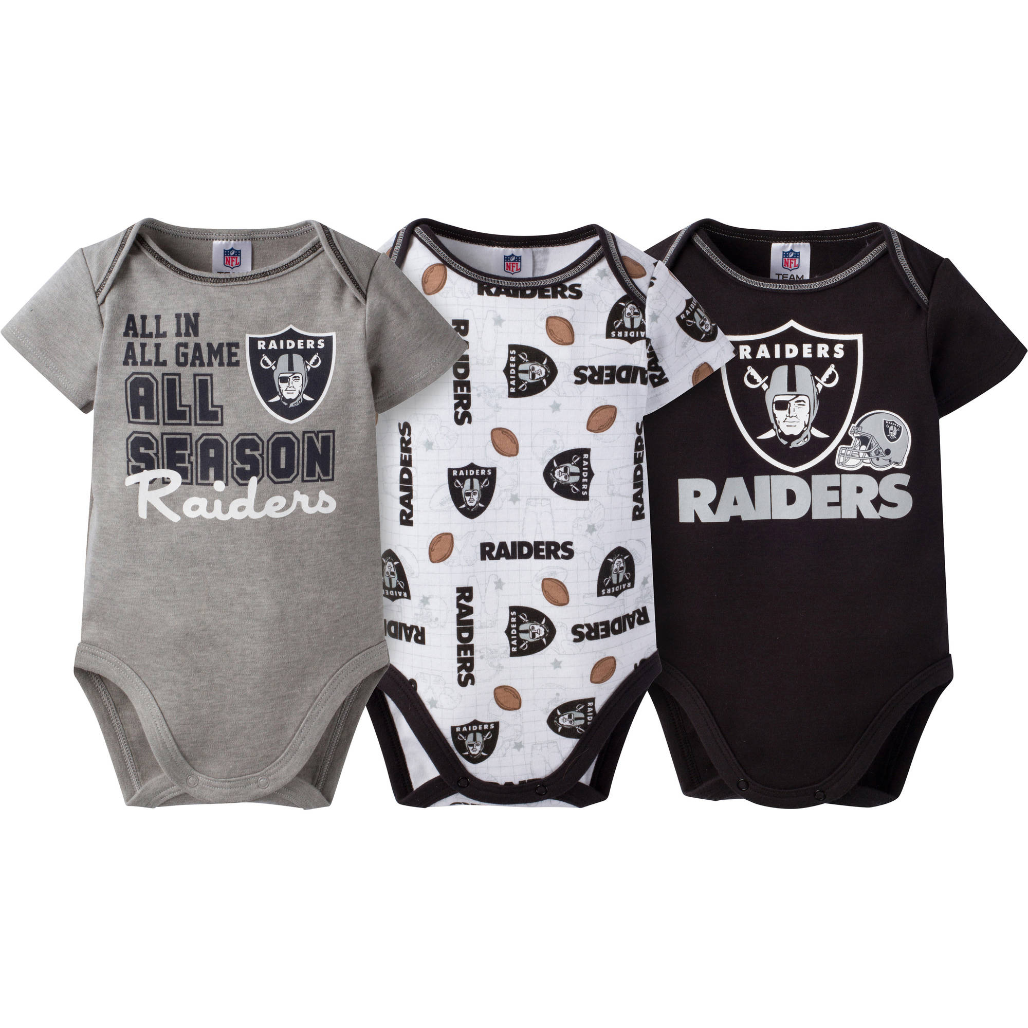 NFL Oakland Raiders Baby Boys Short Sleeve Bodysuit Set, 3-Pack