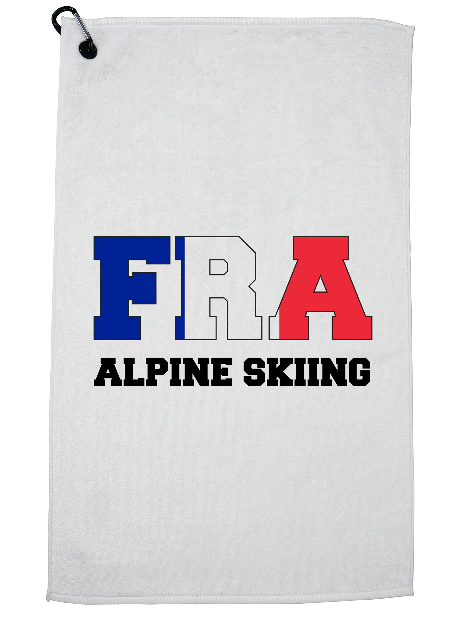 French Alpine Skiing Winter Olympic -FRA Flag Golf Towel with Carabiner Clip by Hollywood Thread