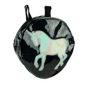 Black Holographic Rainbow Unicorn Round Fashion Backpack