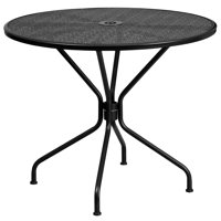 Flash Furniture 35.25'' Round Black Indoor-Outdoor Steel Patio Table