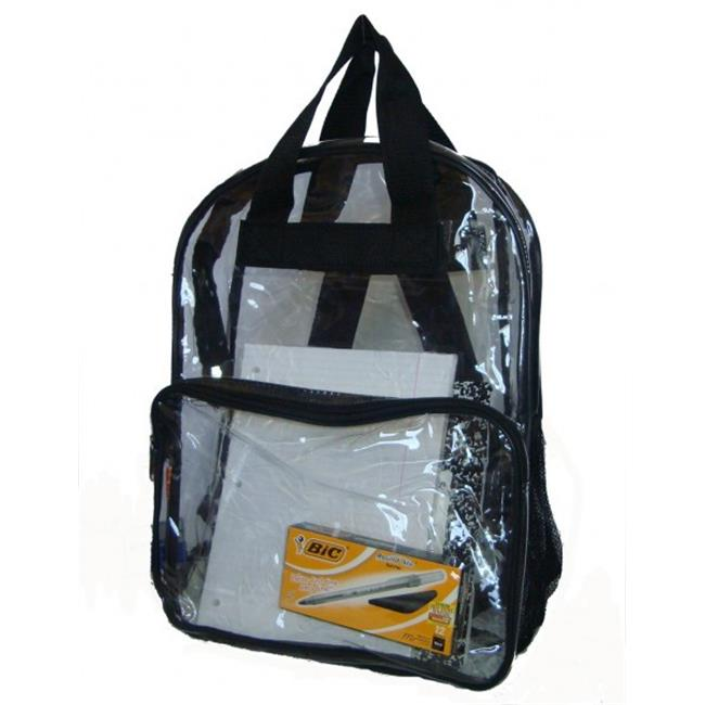 "See-through clear PVC backpack, 17x13x5"", Black."