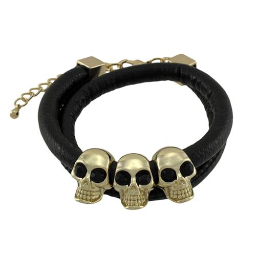 Zeckos - Rounded Vinyl Double Wrap Bracelet with Gold Tone Skull Beads - Black