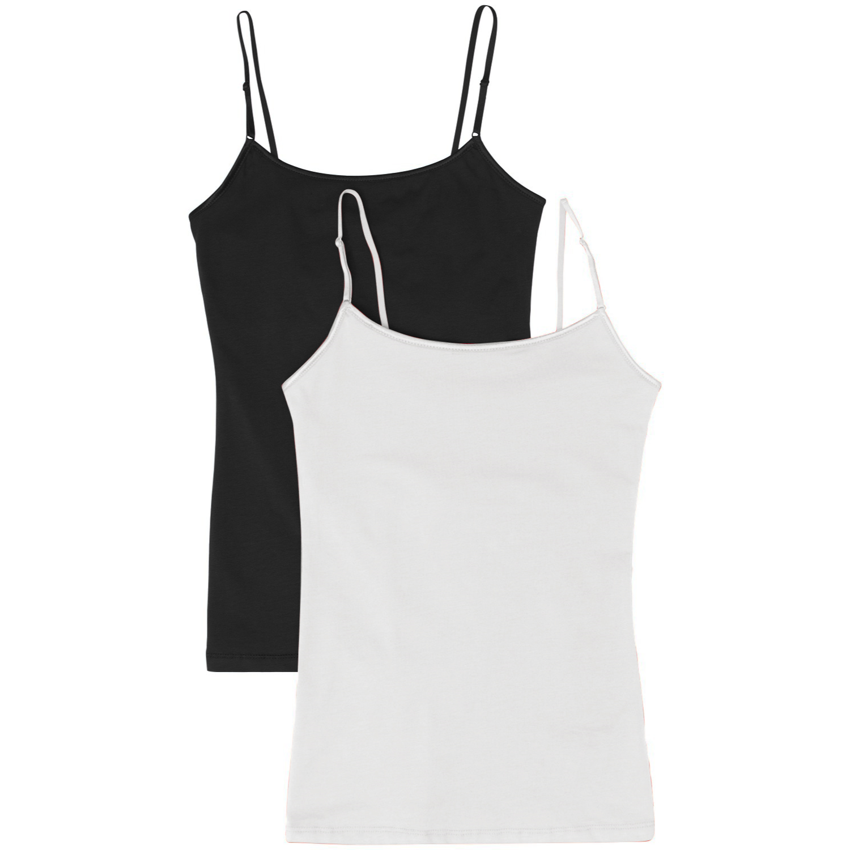 Women's Camisole Built-in Shelf Bra Adjustable Spaghetti Straps Tank Top Pack