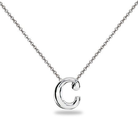 C Letter Initial Alphabet 925 Silver Necklace, 15 inches with - 15 Inch Choker
