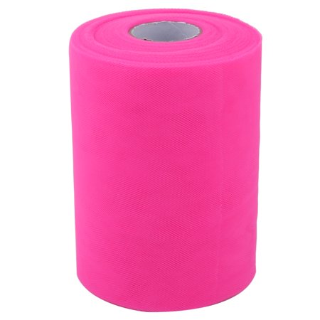 Home Gift Wrap DIY Dress Craft Decor Tulle Spool Roll Fuchsia 6 Inch x 100 Yards