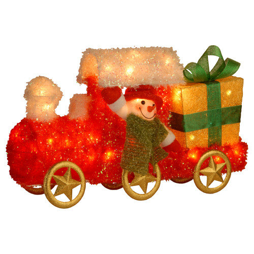 "National Tree 23"" Tinsel Train with Gift and Snowman with Green Scarf with 35 Clear Outdoor Lights"