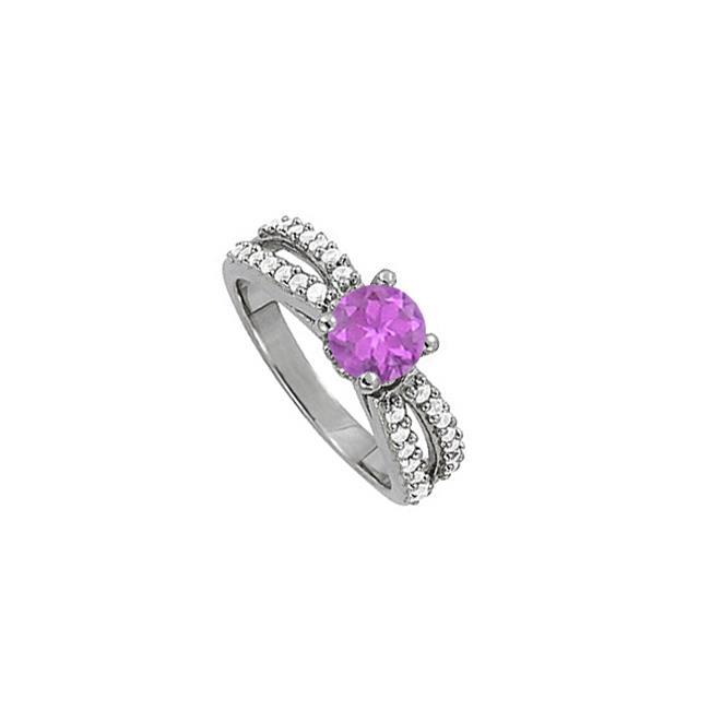 Fine Jewelry Vault UBNR50497W14CZAM Four Prong Set Amethyst With Cubic Zirconia Split Shank Engagement Ring, 28 Stones by Fine Jewelry Vault