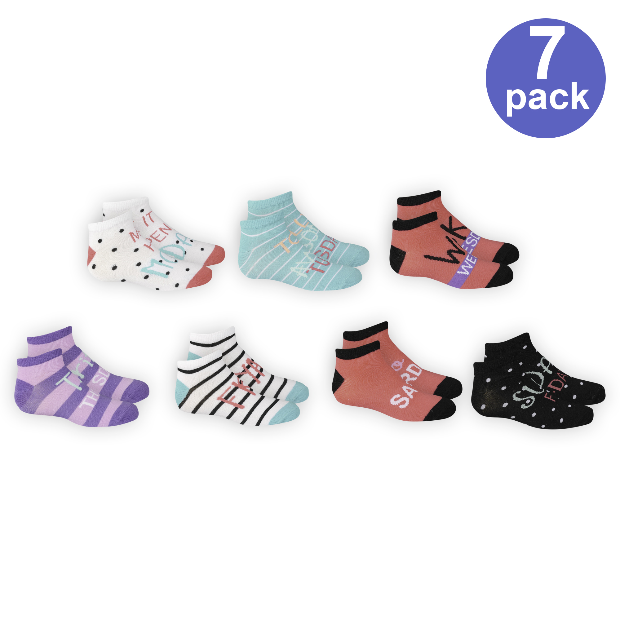 Days of the Week Low Cut Socks, 7 Pairs (Little Girls &...