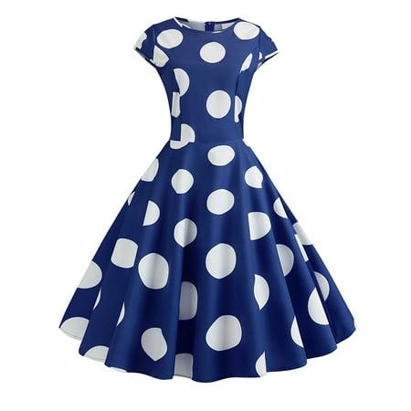 fe92f073db6d SDSINC - Womens Vintage 1950s Polka Dot Rockabilly Evening Party Prom Gown Swing  Dress - Walmart.com