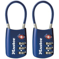 Master Lock 4688T Set Your Own Combination Tsa-accepted Cable Padlock, Assorted Colors, 2 Pack