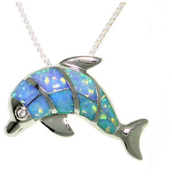 Jewelry Trends Sterling Silver Created Opal Dolphin Necklace by Jewelry Trends